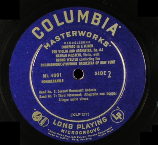 Ml4001 Columbia Microgroove Lp First Released 1948